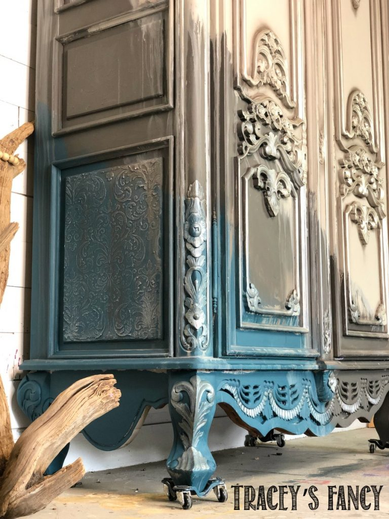 Water washed gray armoire by Traceys Fancy