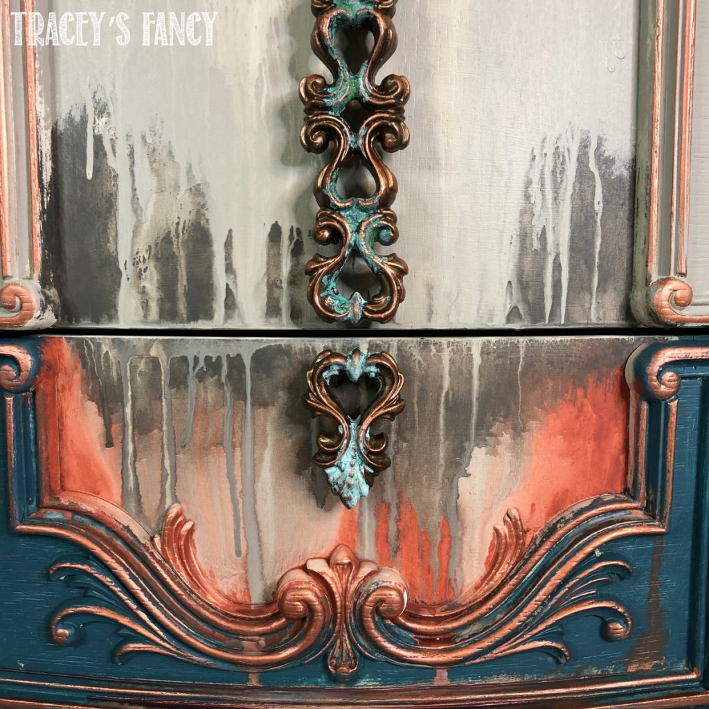 Water washed dresser with patina reactive spray by Traceys Fancy