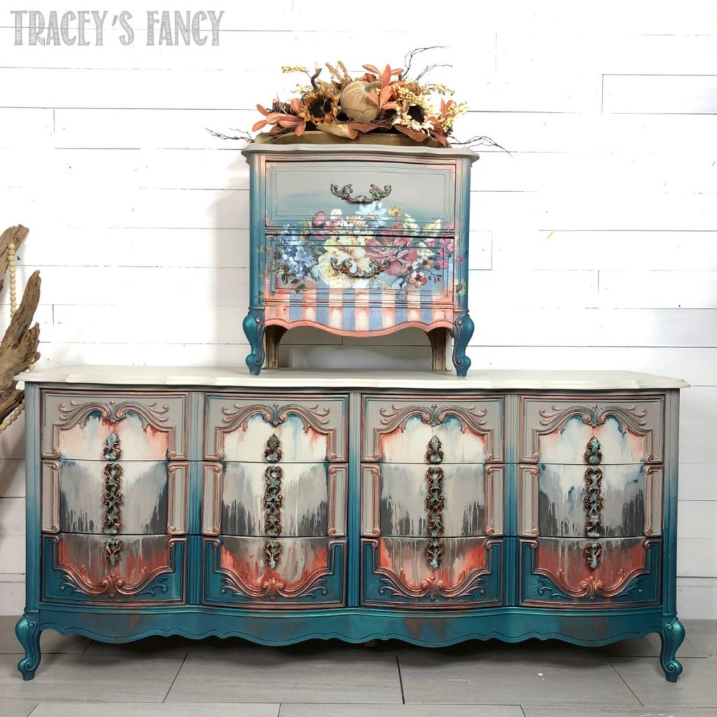 Floral Painted Nightstand and Dresser by Tracey Fancy