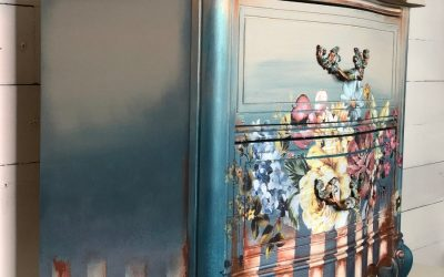 Floral painted nightstand with stripes