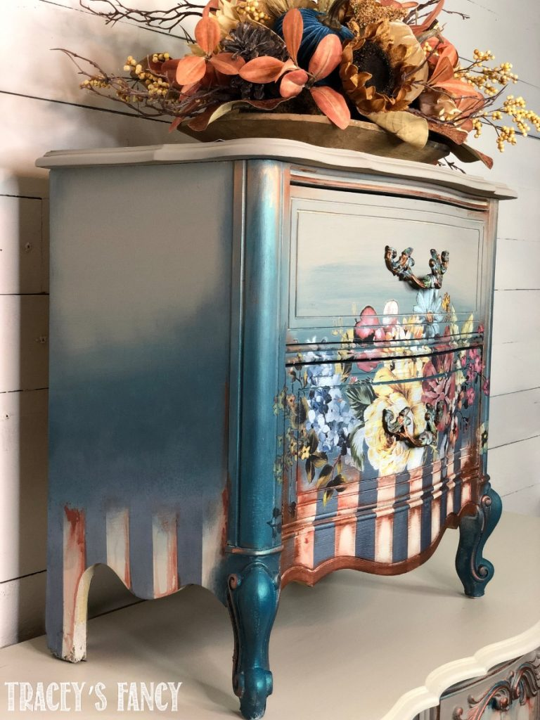 Floral Painted Nightstand with stripes by Tracey Fancy