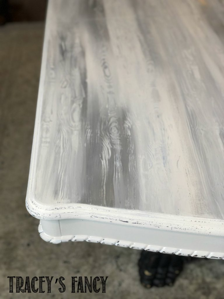 Faux wood grain painted table top with chalk paint in one hour   Tracey's Fancy