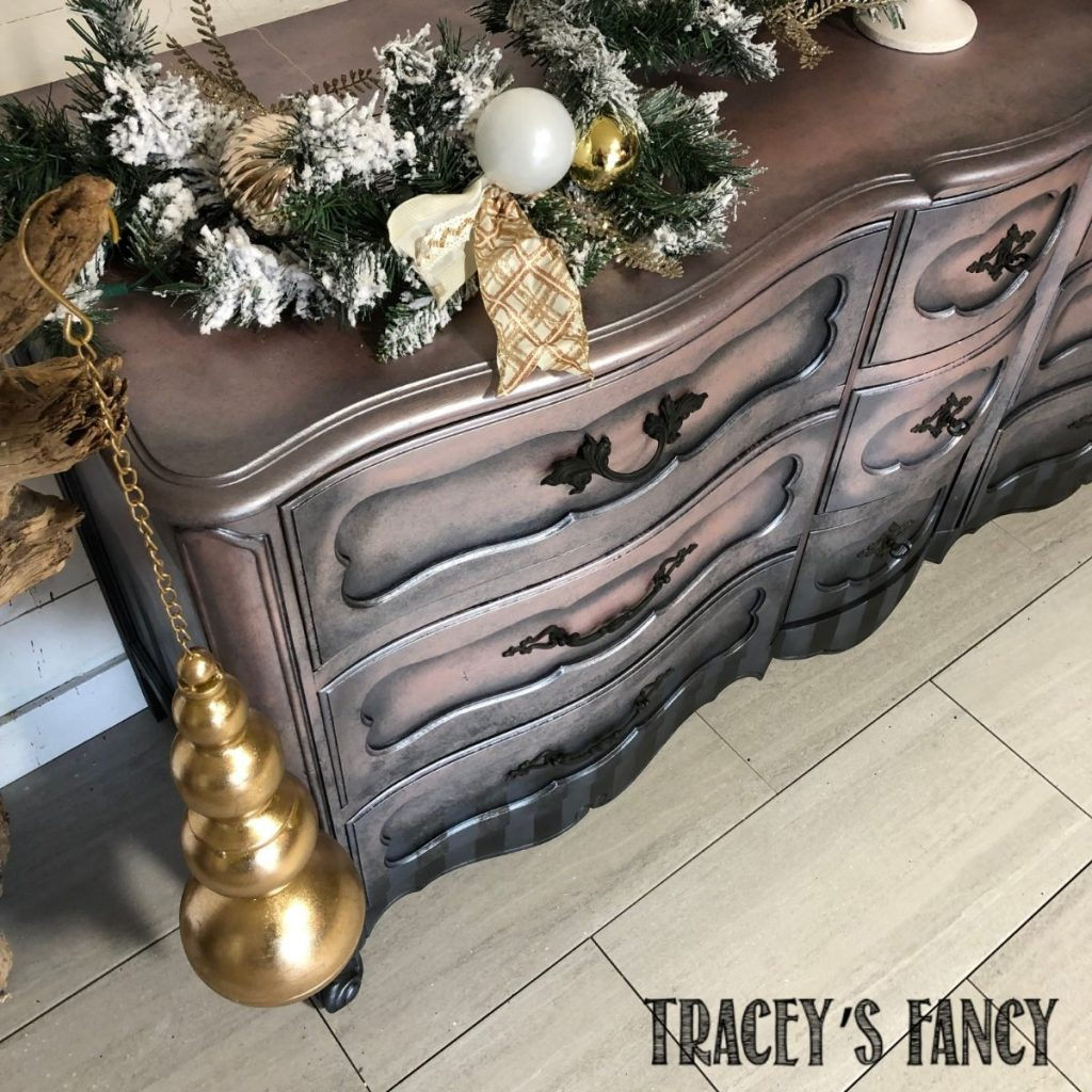 Romantic Painted Metallic Dresser by Tracey's Fancy