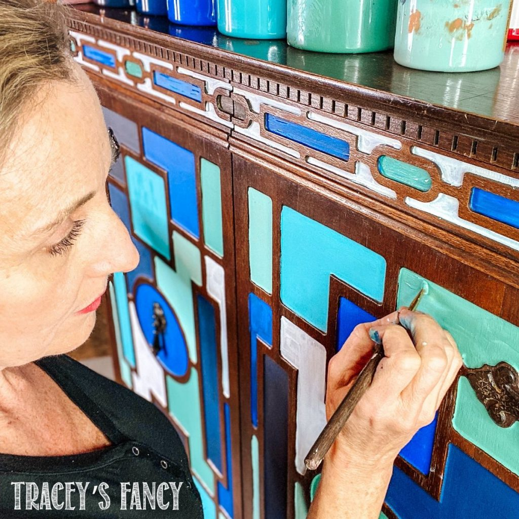 blue geometric painted furniture | Tracey's Fancy