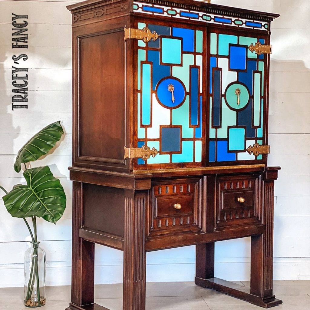 blue geometric painted furniture with gold leaf inside | Tracey's Fancy