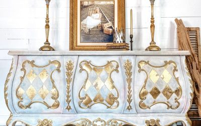 Gold leaf harlequin buffet with a neutral whimsy feel
