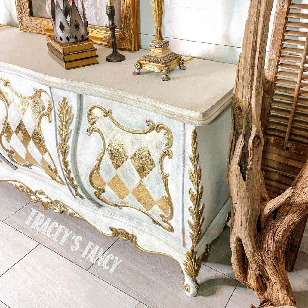 Gold leaf harlequin buffet | Tracey's Fancy