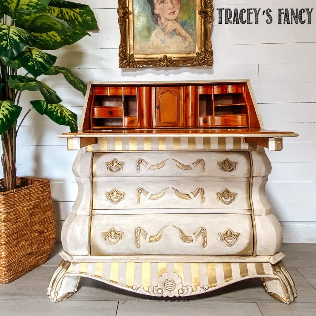 Neutral Whimsical Gold Striped Desk | Tracey's Fancy