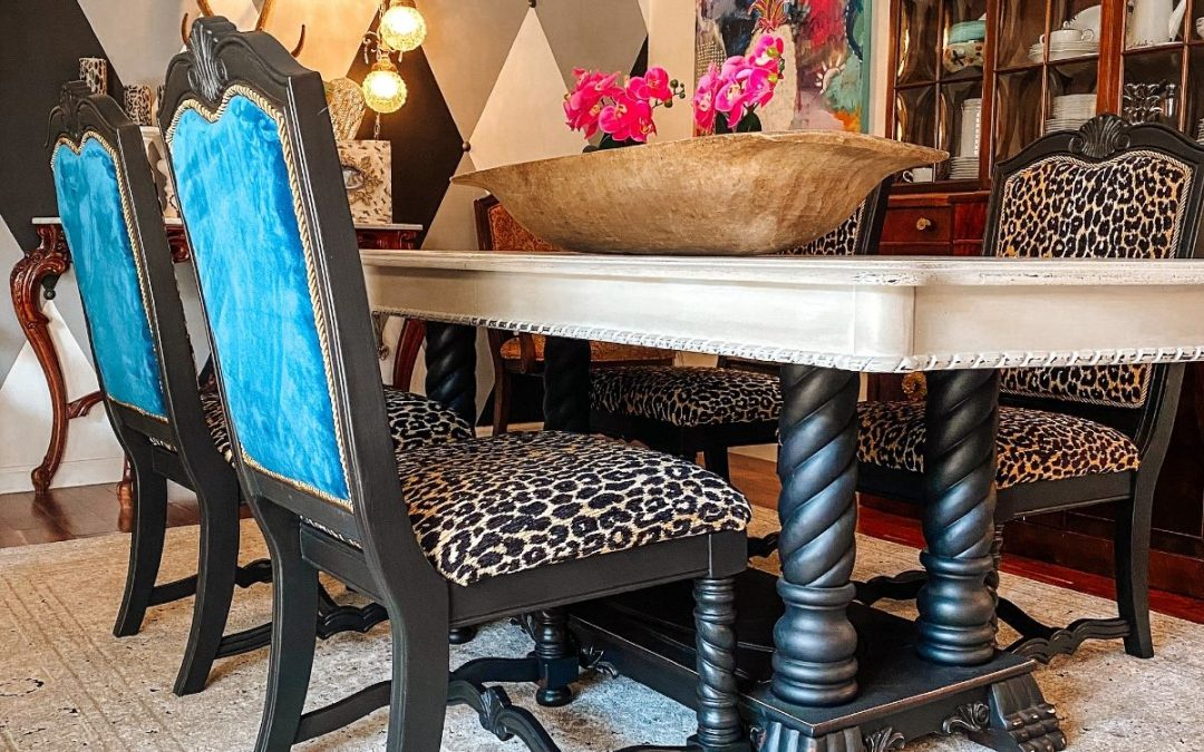 How to reupholster dining room chairs…in leopard!