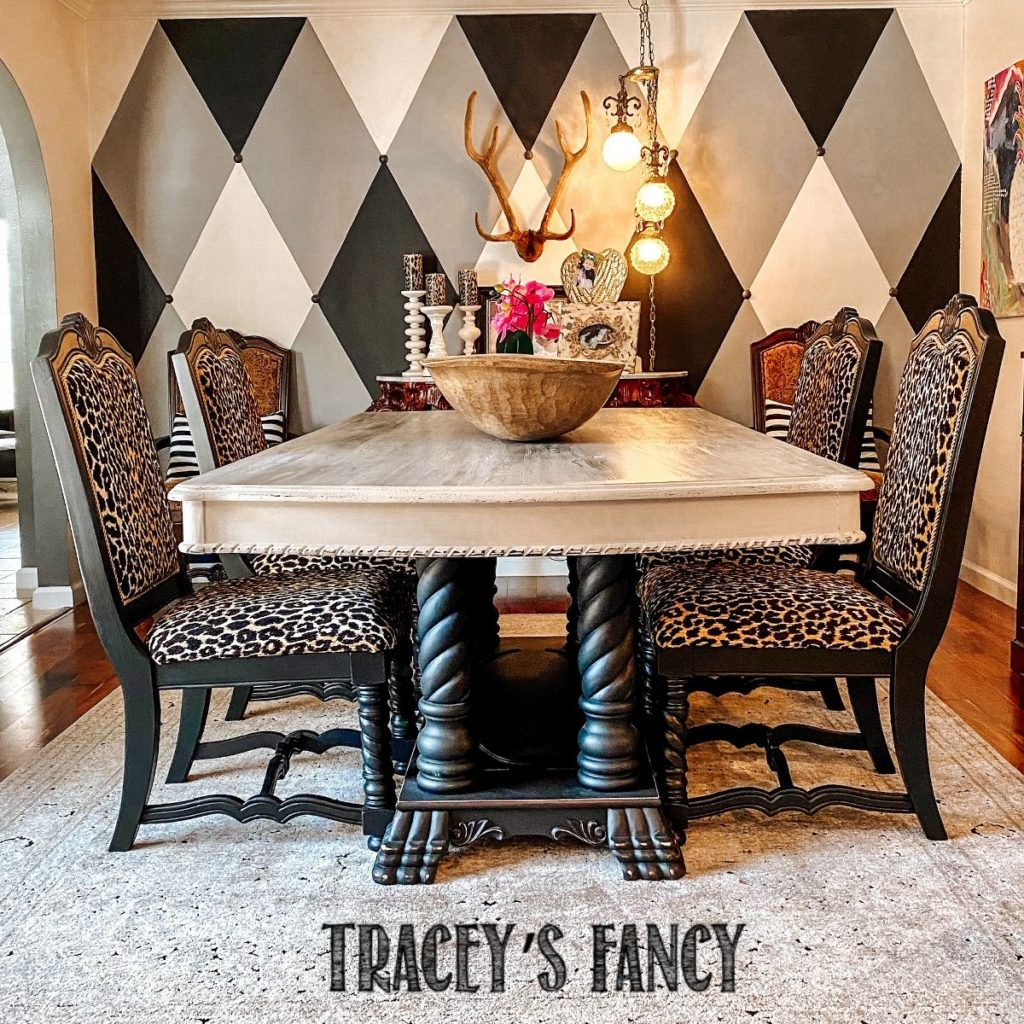 How to reupholster dining room chairs in leopard print   Tracey's Fancy