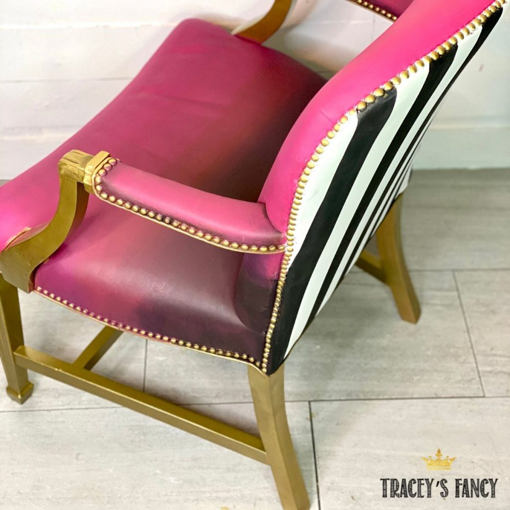 whimsical color blended chalk painted leather chair   Tracey's Fancy