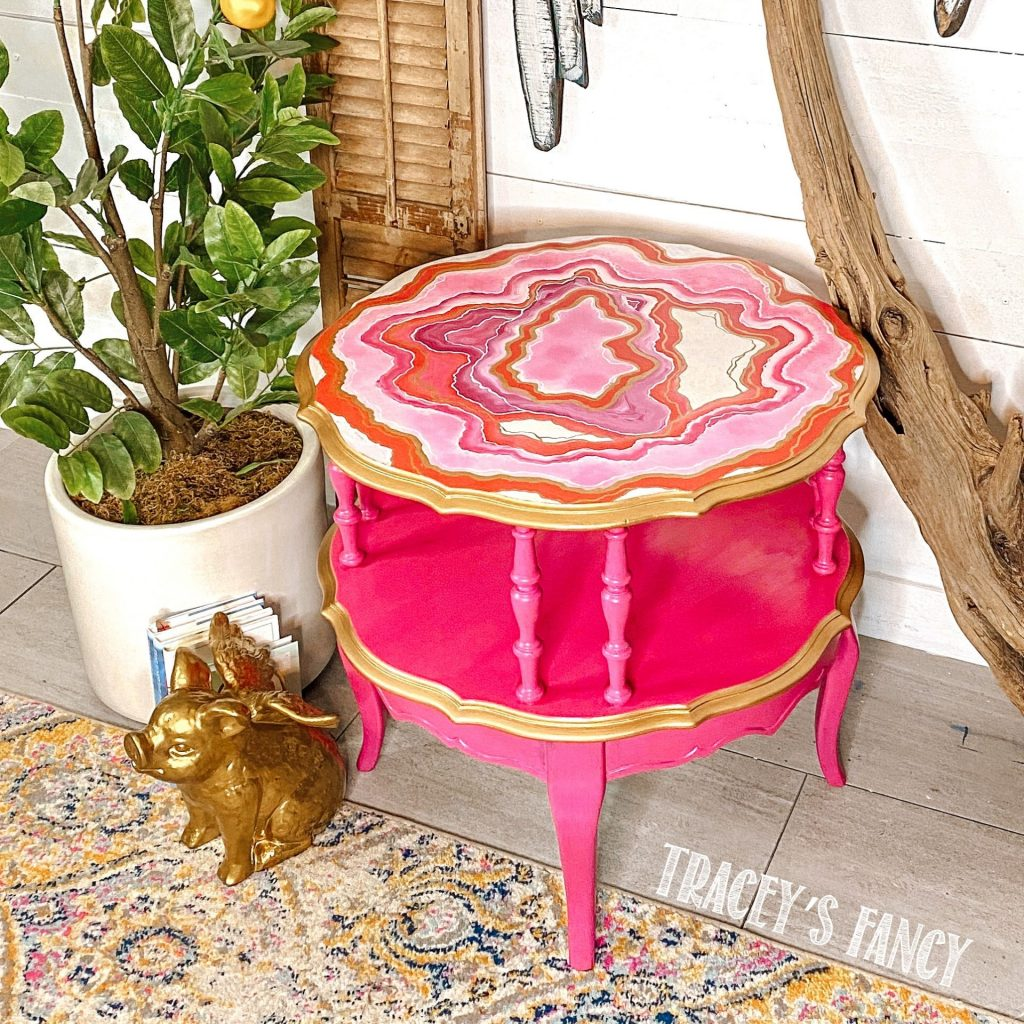 pink geode painted table with gold accents | Tracey's Fancy