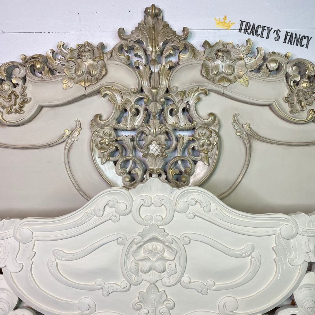 rococo bed with a color wash technique and a gorgeous gold dusting | Traceys Fancy