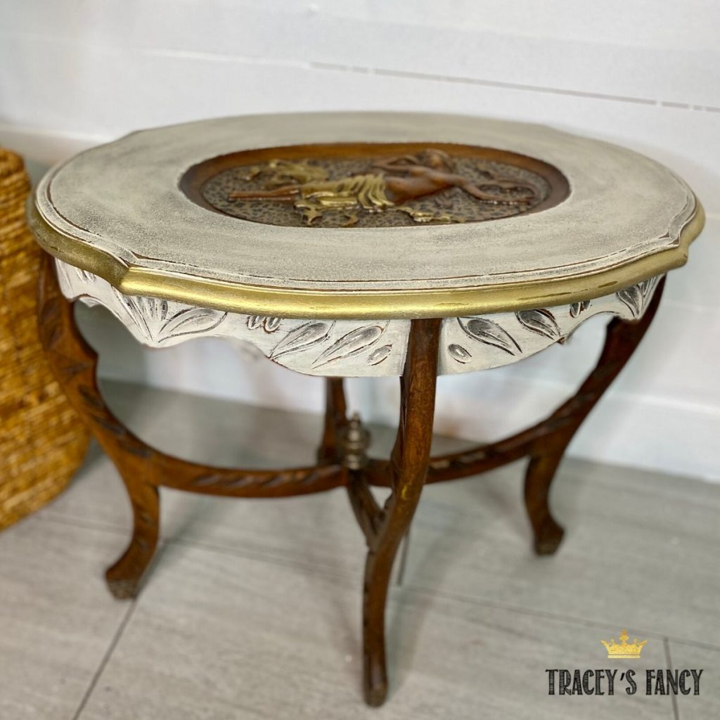 leopard print side table with foil application   Tracey's Fancy
