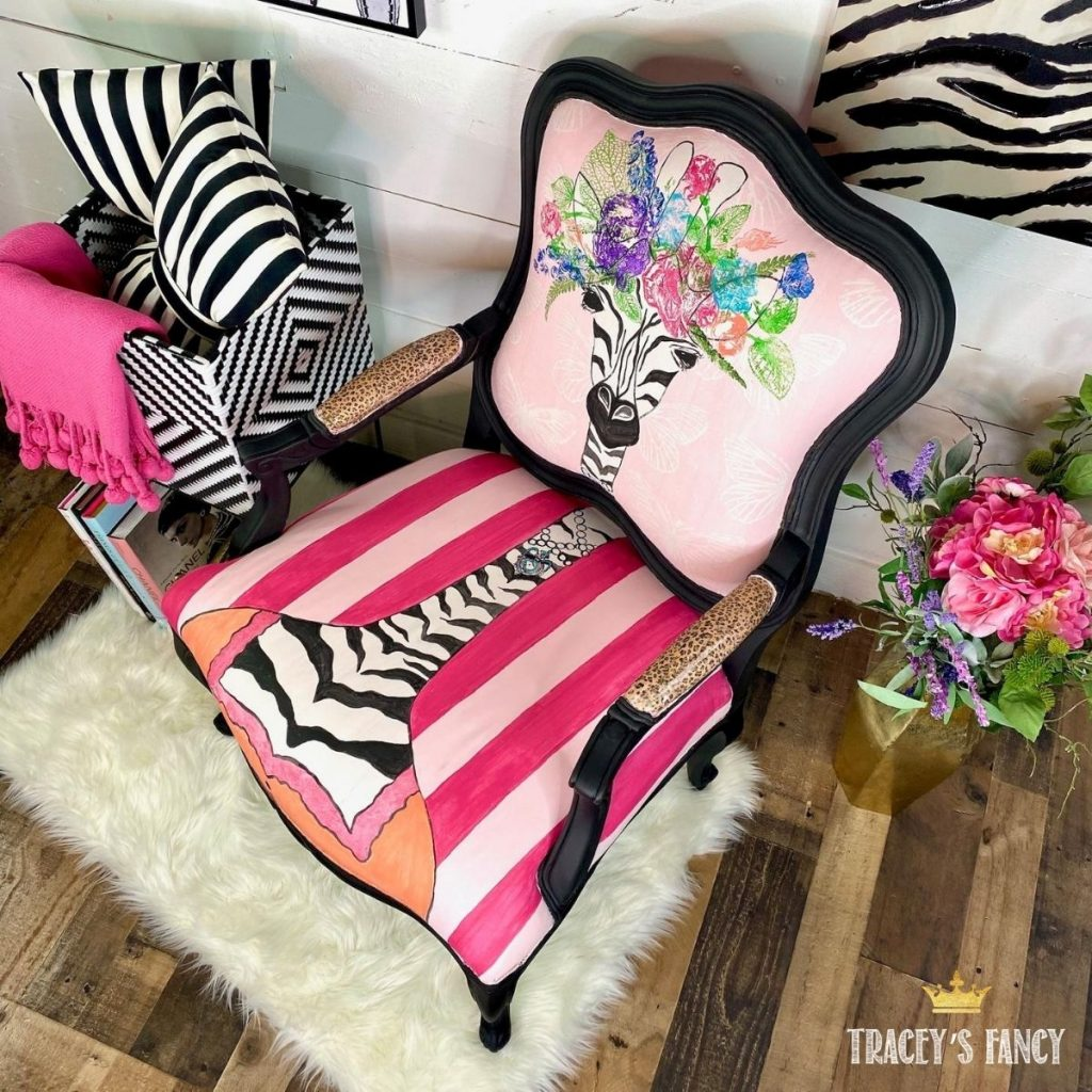painted zebra chair by Tracey's Fancy