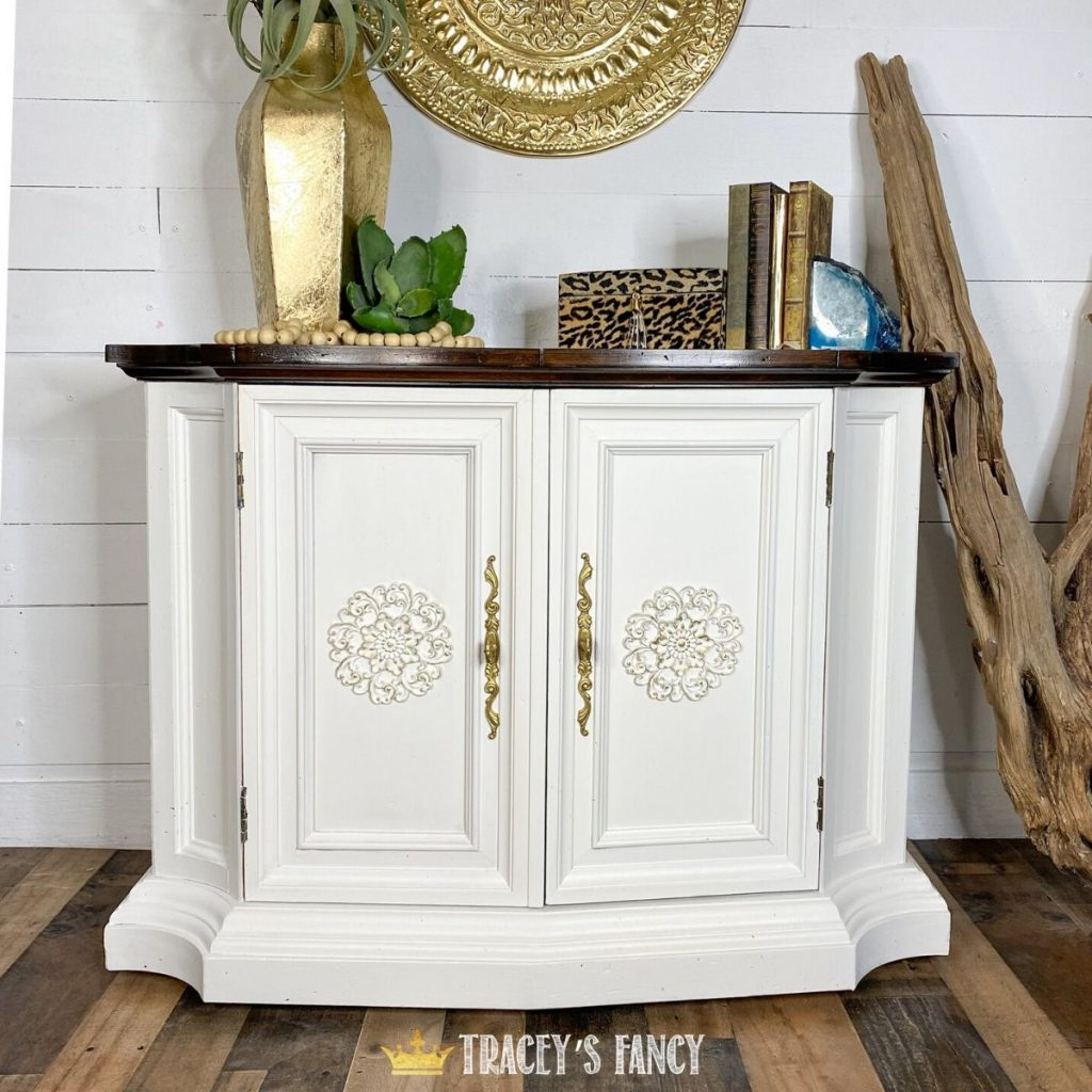painted white cabinet with faux grain top by Tracey's Fancy