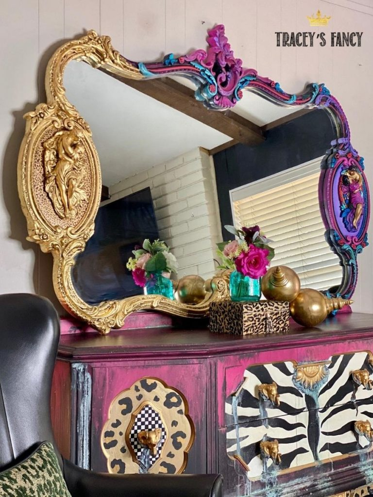 Whimsical gold leaf mirror with bright bold colors by Tracey's Fancy