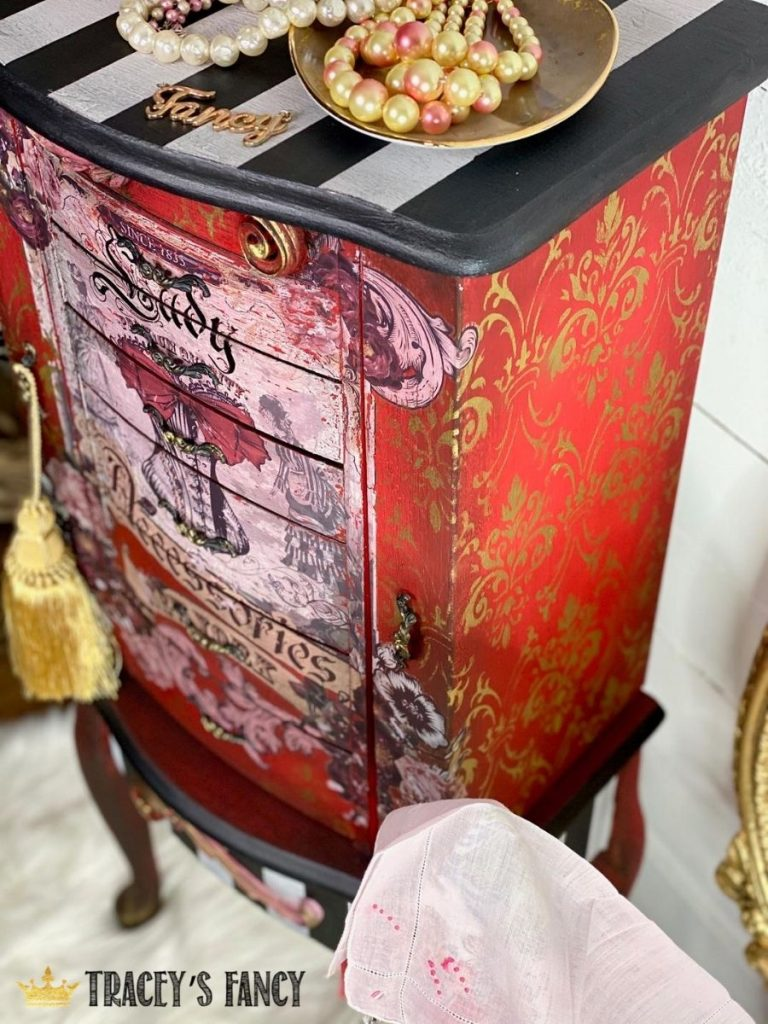 red jewelry armoire with design transfer by Tracey's Fancy