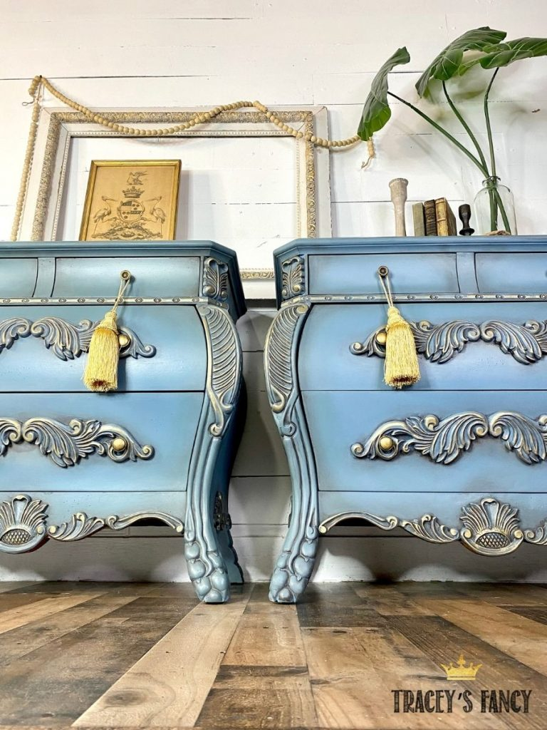 Chinese Bombay nightstands with a dragon and phoenix by Tracey's Fancy
