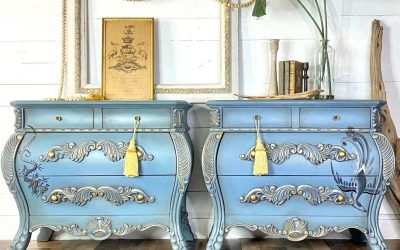 Chinese Bombay nightstands in gorgeous soft blue & gold