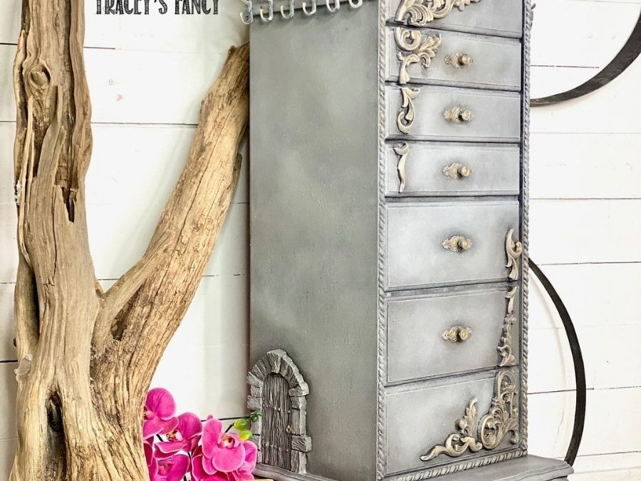 Faux concrete jewelry armoire with a big impact