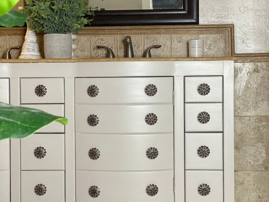 Chalk painted bathroom cabinets for a fresh clean look