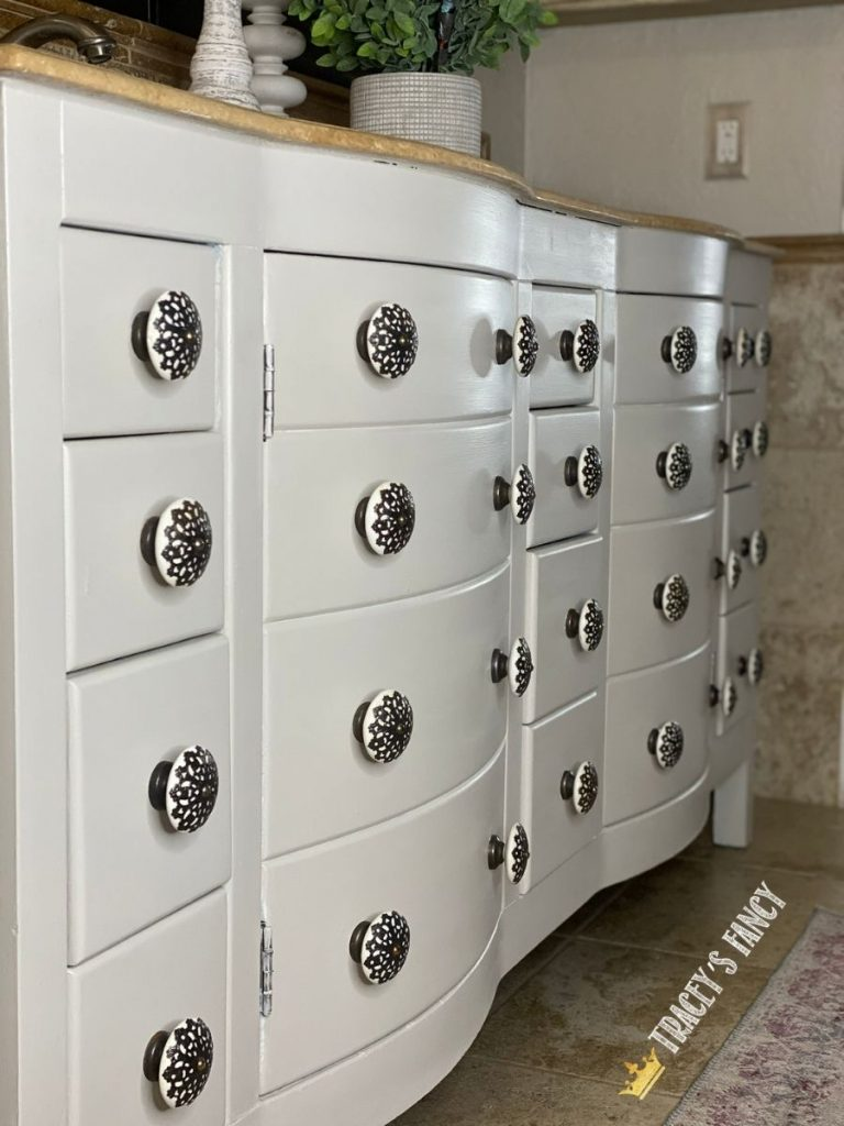 Chalk painted bathroom cabinets by Tracey's Fancy
