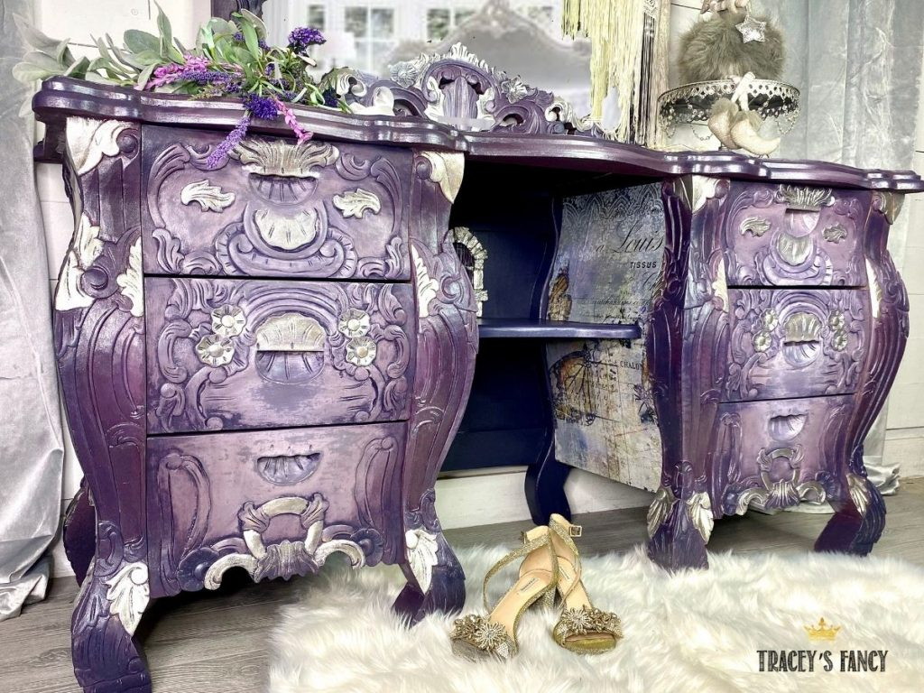 Purple Hollywood glam vanity with butterfly design transfer by Tracey's Fancy
