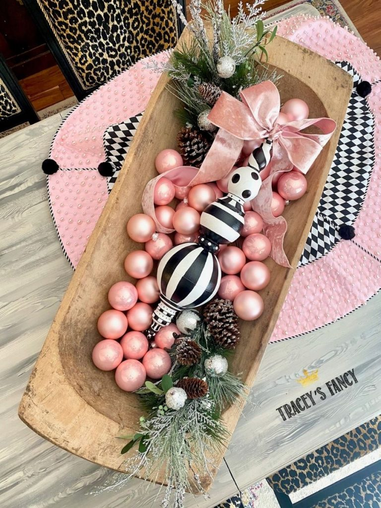 Black and white whimsical Christmas decorations by Tracey's Fancy