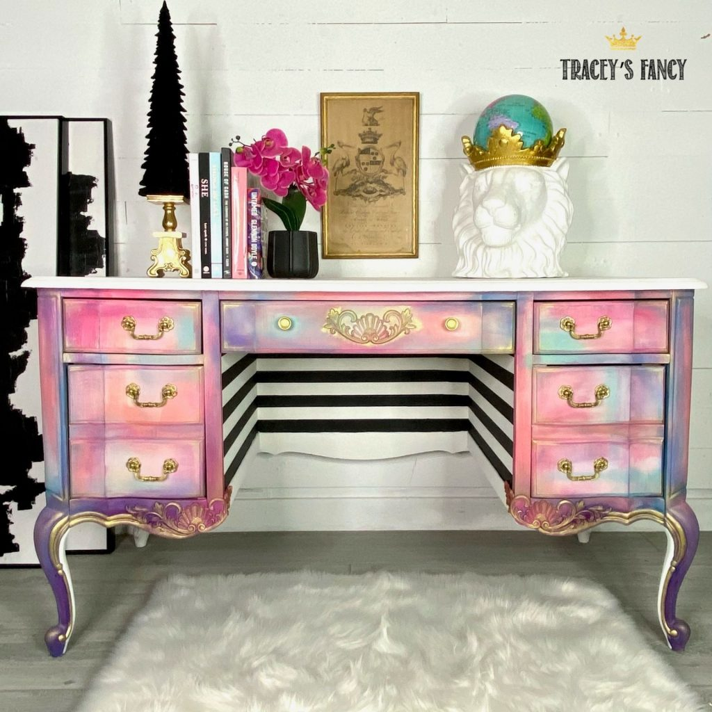 Colorful French desk with black and white stripes by Tracey's Fancy #beautyinchaos