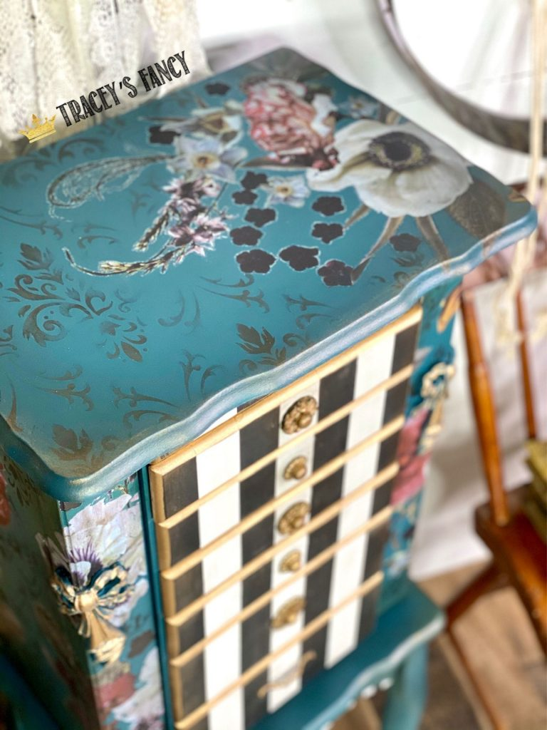 Teal Floral Jewelry Armoire by Tracey's Fancy