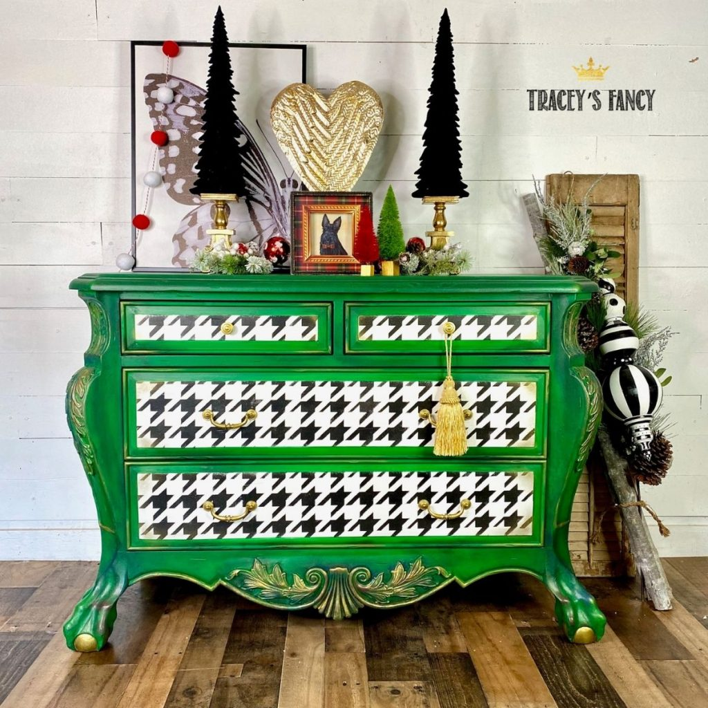 green houndstooth Bombay dresser by Tracey's Fancy