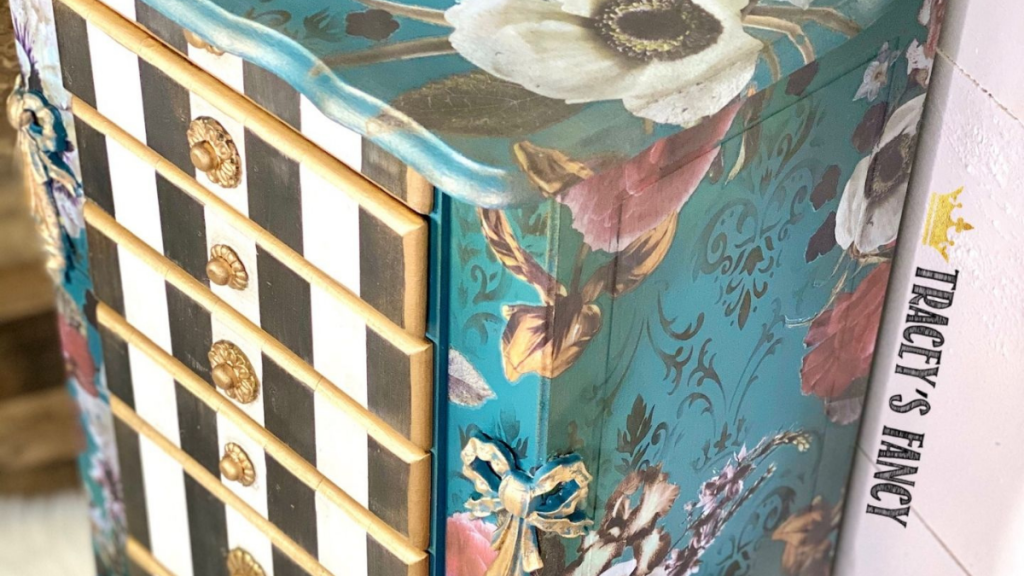 Teal floral jewelry armoire with a whimsical feel