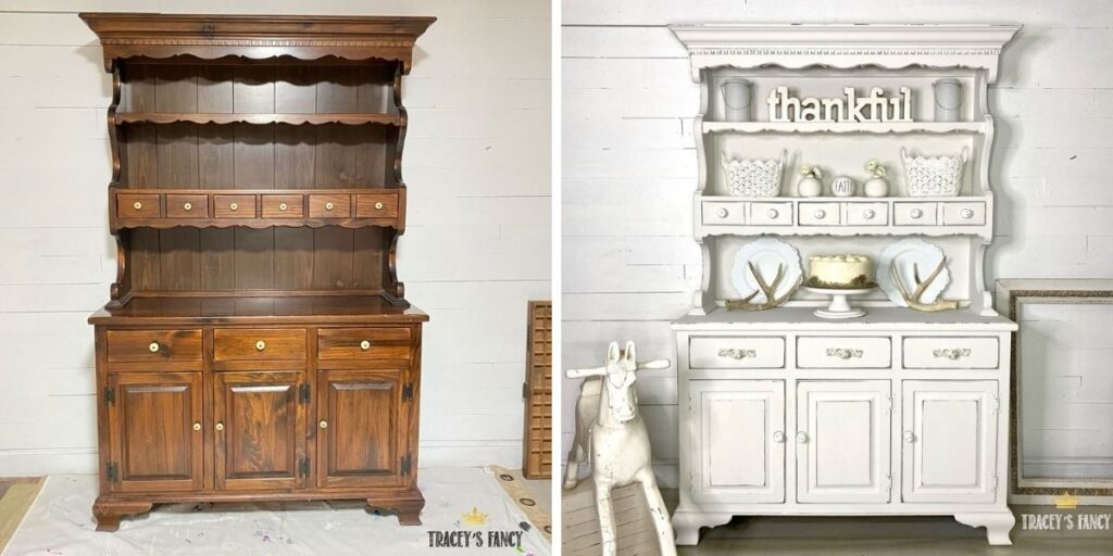 shabby white china cabinet makeover by Traceys Fancy