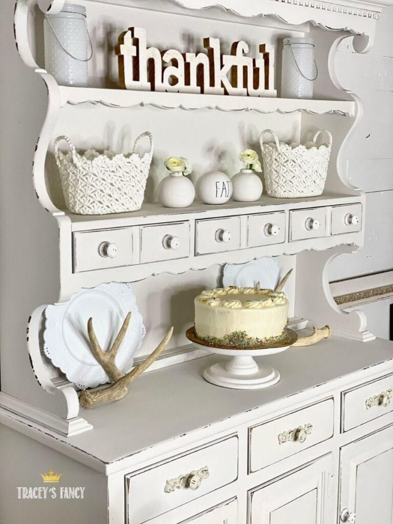 shabby white china cabinet by Traceys Fancy