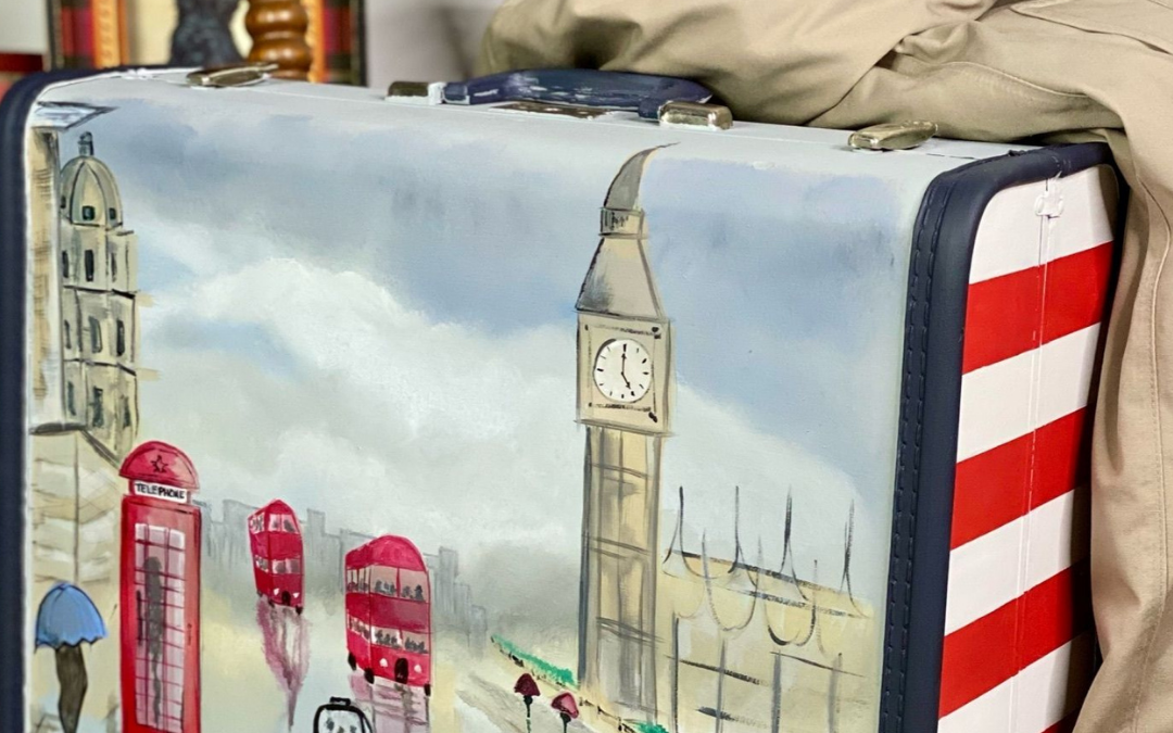 vintage luggage painted to give it new life