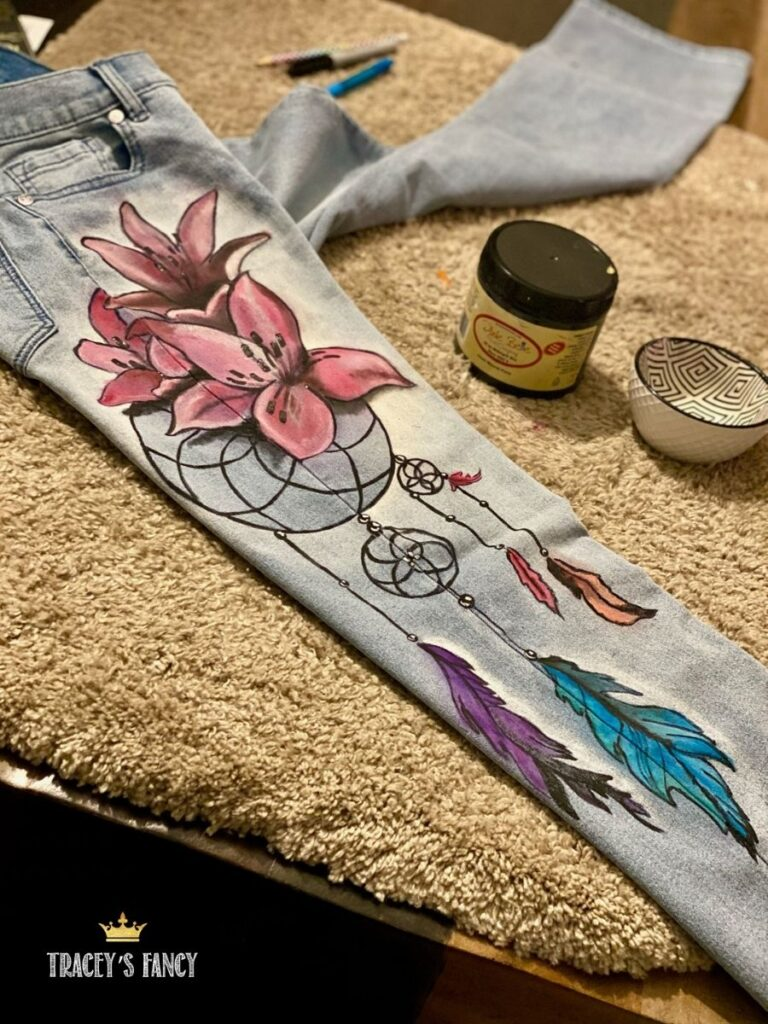 painted denim jeans with flowers and dream catchers | Traceys Fancy