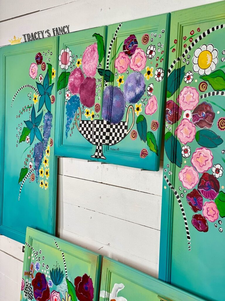 whimsical kitchen cabinets with florals | Tracey's Fancy
