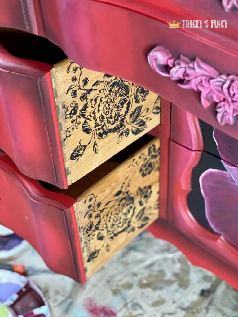 hand painted red rose buffet with silkscreen stencil by Tracey's Fancy