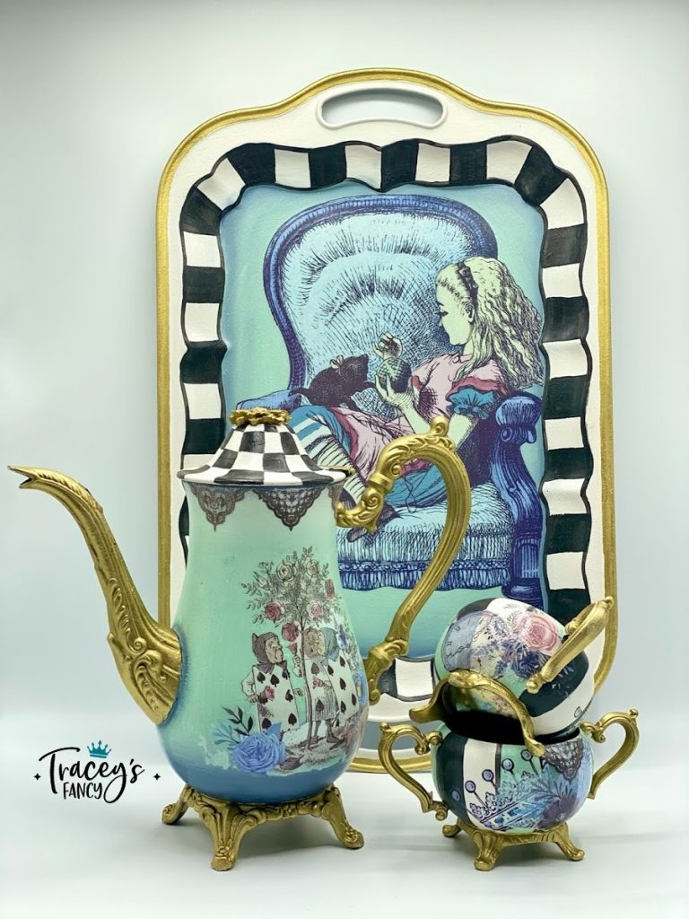 Alice in Wonderland whimsical tea set using Dixie Belle transfers | Tracey's Fancy