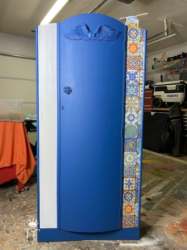 Mediterranean armoire by Traceys Fancy with Dixie Belle Silk Paint and Colorful Tiles decoupage rice paper
