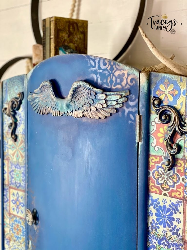 Mediterranean armoire by Traceys Fancy with Dixie Belle Silk Paint, Colorful Tiles decoupage rice paper, and Moroccan stencil