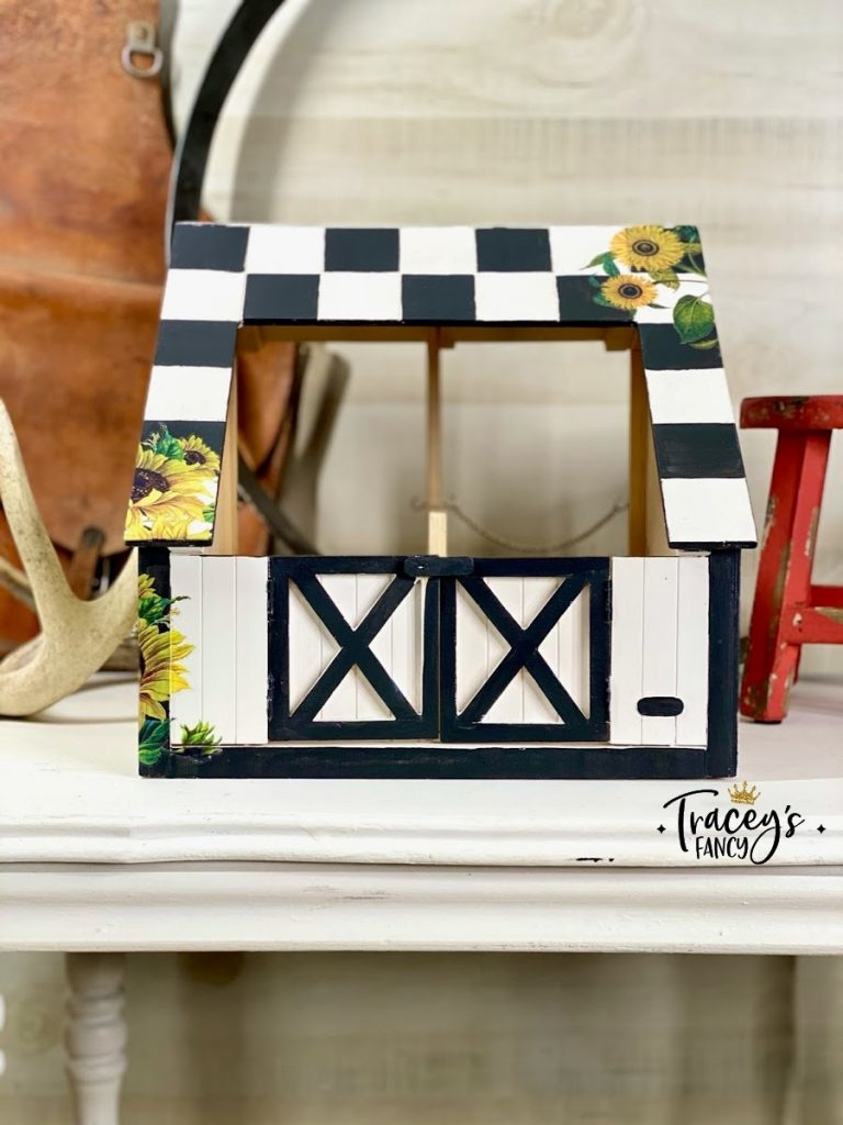 Barbie horse stable with Dixie Belle sunflower design transfer | Tracey's Fancy