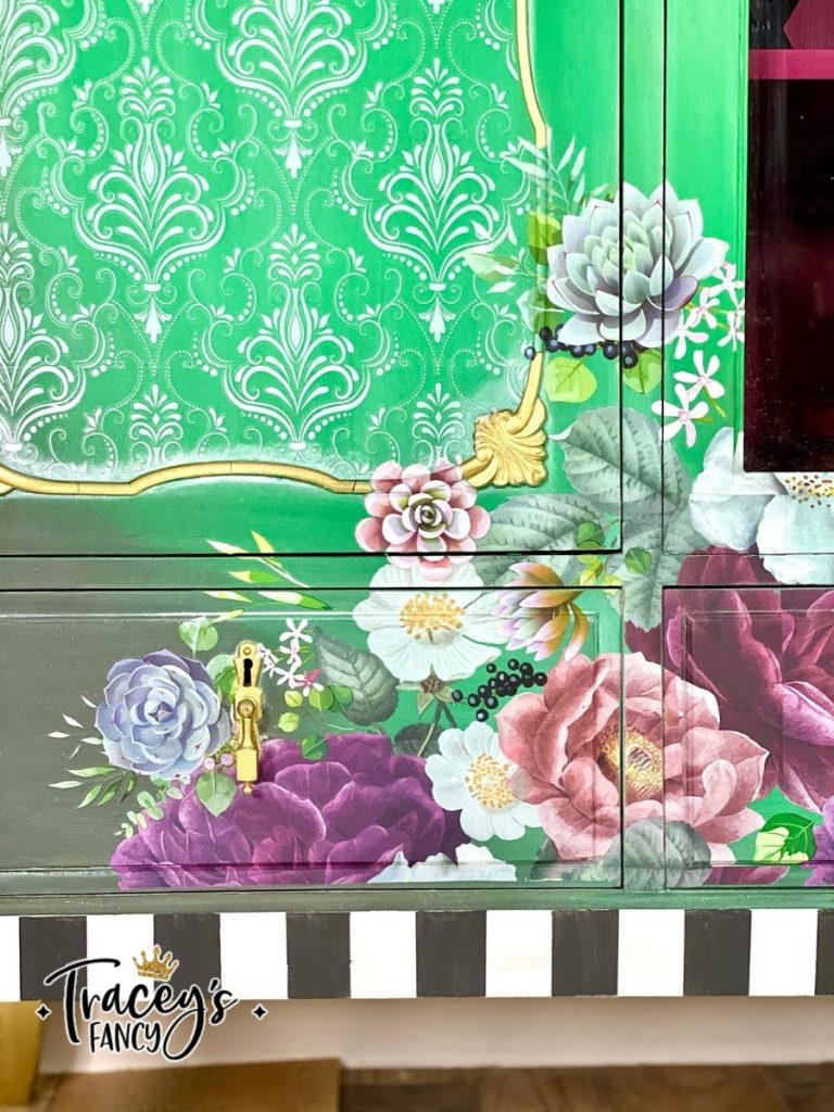 whimsical green china cabinets with floral and lace by Tracey's Fancy